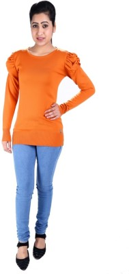 SLS Solid Round Neck Casual Women's Orange Sweater