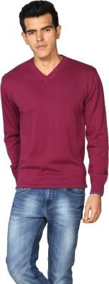Provogue Solid V-neck Casual Men Purple Sweater