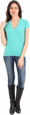 FashionHaven Solid V-neck Casual Women's Blue Sweater