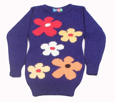 Deetya Floral Print Round Neck Girl,s Dark Blue Sweater
