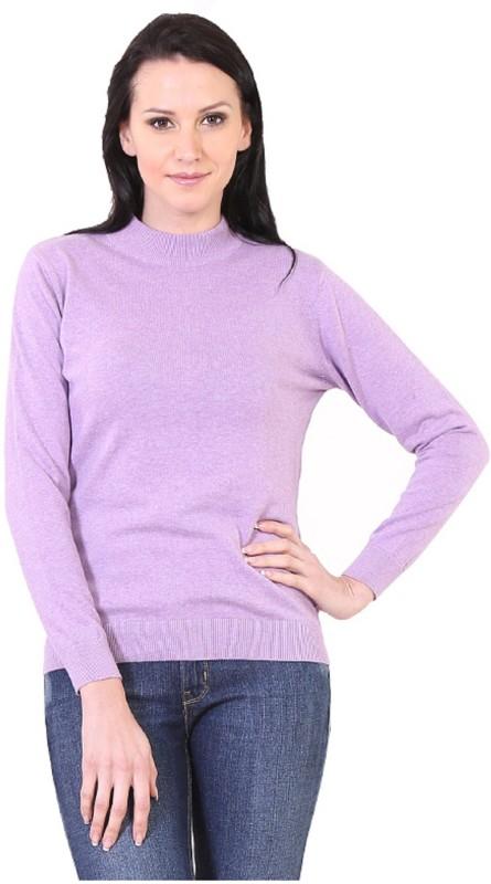 Kalt Solid Turtle Neck Casual Women Purple Sweater