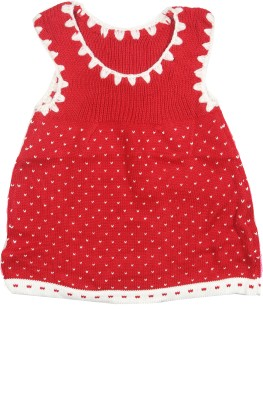 Camey Solid Round Neck Casual Baby Girl's Red Sweater