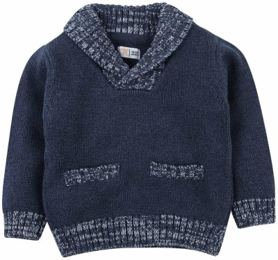 Mom & Me Solid Round Neck Casual Boy's Blue Sweater