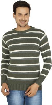 Fizzaro Striped Round Neck Casual Men's Green, Grey Sweater