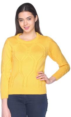 CLUB YORK Self Design Round Neck Casual Women's Yellow Sweater