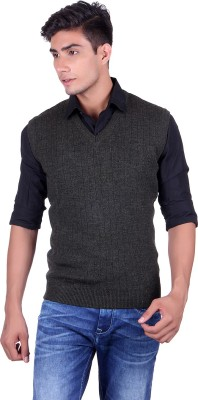 eWools Solid V-neck Party Men's Grey Sweater