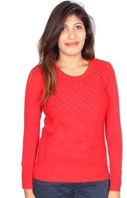 GnC Self Design Round Neck Casual, Formal, Sports, Party Women's Red Sweater