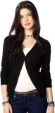People Solid V-neck Casual Women Black S...