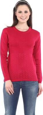 Miss Grace Self Design Round Neck Casual Women's Pink Sweater