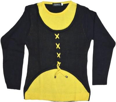 Ossell Self Design Round Neck Girl,s Yellow, Black Sweater