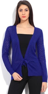 Elle Self Design Casual Women's Blue Sweater