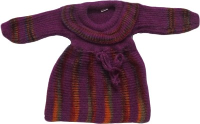 Bebzcozzy Striped Round Neck Girl's Purple Sweater