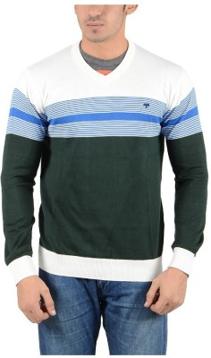 Reveller Striped V-neck Casual Men's White Sweater
