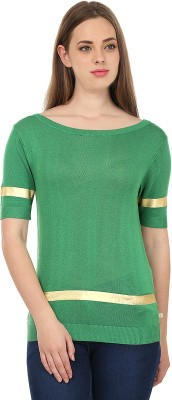 United Colors of Benetton Solid Round Neck Casual Women's Green, Gold Sweater