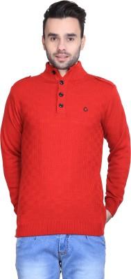 BRAVEZI Solid Turtle Neck Casual Men,s Red Sweater