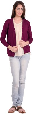 Fugue Solid V-neck Casual Women's Pink Sweater