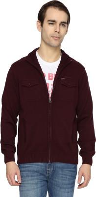 Wrangler Solid Turtle Neck Casual Men's Maroon Sweater