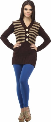 Stylistry Striped V-neck Casual Women's Brown Sweater