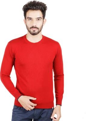 Numero Uno Solid Round Neck Casual Men's Red Sweater