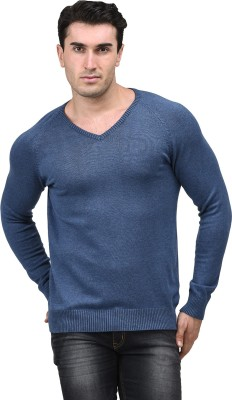 Mettle Solid V-neck Men's Blue Sweater