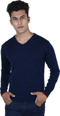 Provogue Solid V-neck Casual Men Blue Sweater