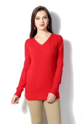 Van Heusen Self Design V-neck Women's Red Sweater