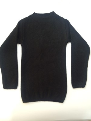 ASMO Solid Round Neck Casual Girl's Black Sweater