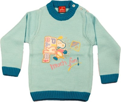 Kidax Solid, Embroidered Round Neck Casual, Festive, Party Baby Boy's Light Blue Sweater