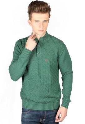 Again Self Design Turtle Neck Casual Men's Green Sweater