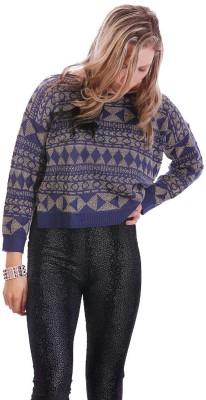 Lioness Geometric Print Round Neck Casual Women's Multicolor Sweater