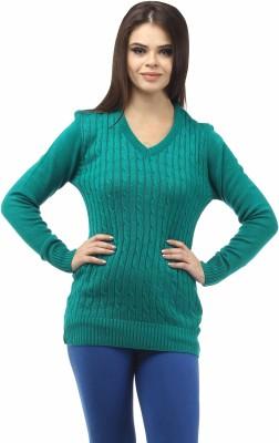 Stylistry Self Design V-neck Casual Women's Green Sweater