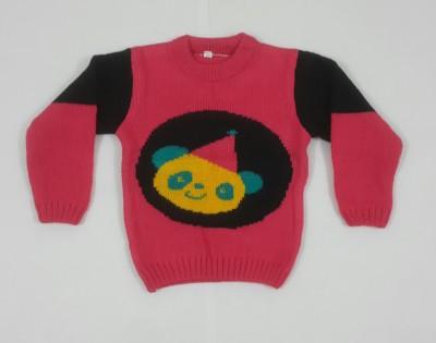 Oshin Woven Round Neck Girl's Pink, Black Sweater