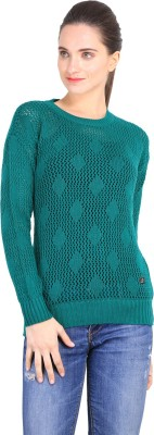 Duke Stardust Solid Round Neck Casual Women's Green Sweater