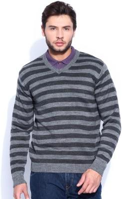 HRX by Hrithik Roshan Self Design V-neck Casual Men's Grey Sweater