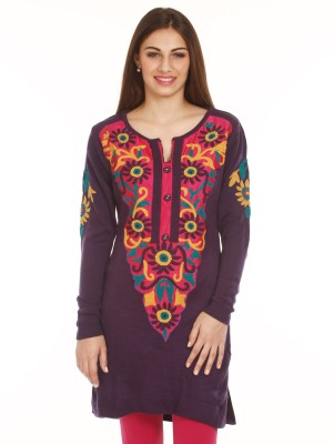 Mustard Embroidered Round Neck Casual Women's Purple Sweater
