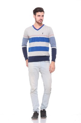 Pro Riders Striped V-neck Casual Men's Grey, Blue Sweater