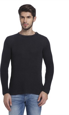 Jack & Jones Solid Round Neck Casual Men Black Sweater