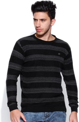 Roadster Self Design Round Neck Casual Men's Grey Sweater