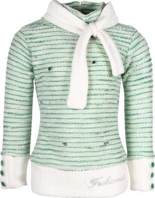 Cutecumber Striped Round Neck Party Girl's Green Sweater