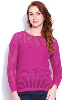 Dressberry Solid Round Neck Casual Women Pink Sweater at flipkart