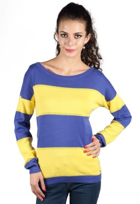 Again Striped Round Neck Casual Women's Blue Sweater