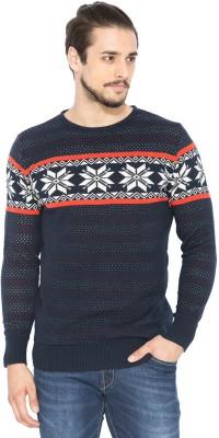Status Quo Self Design Round Neck Casual Men's Dark Blue Sweater