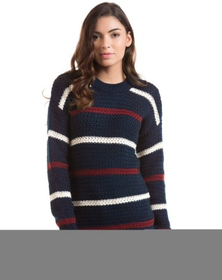 Shuffle Striped Round Neck Casual Women's Blue Sweater