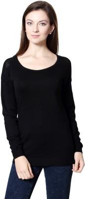 Van Heusen Solid Round Neck Women's Black Sweater