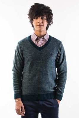 Srota Solid V-neck Casual Men's Green Sweater