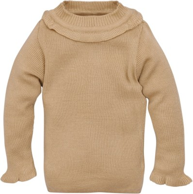 RVK Solid Round Neck Casual Girl's Beige Sweater