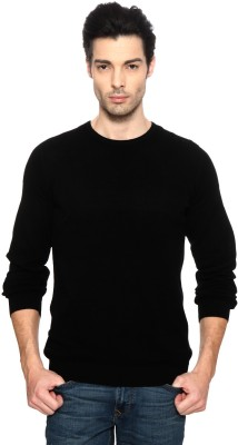 Van Heusen Solid Round Neck Casual Men's Black Sweater