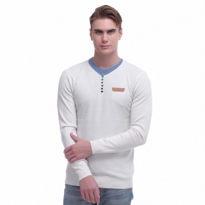 Jogur Self Design Round Neck Men's White Sweater