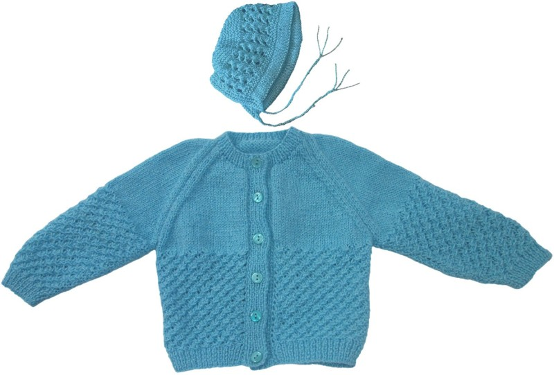 Ubique Self Design Round Neck Party Baby Boys & Baby Girls Blue Sweater
