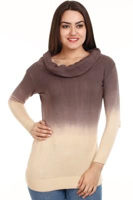 Mustard Self Design Round Neck Casual Women's Brown, Beige Sweater
